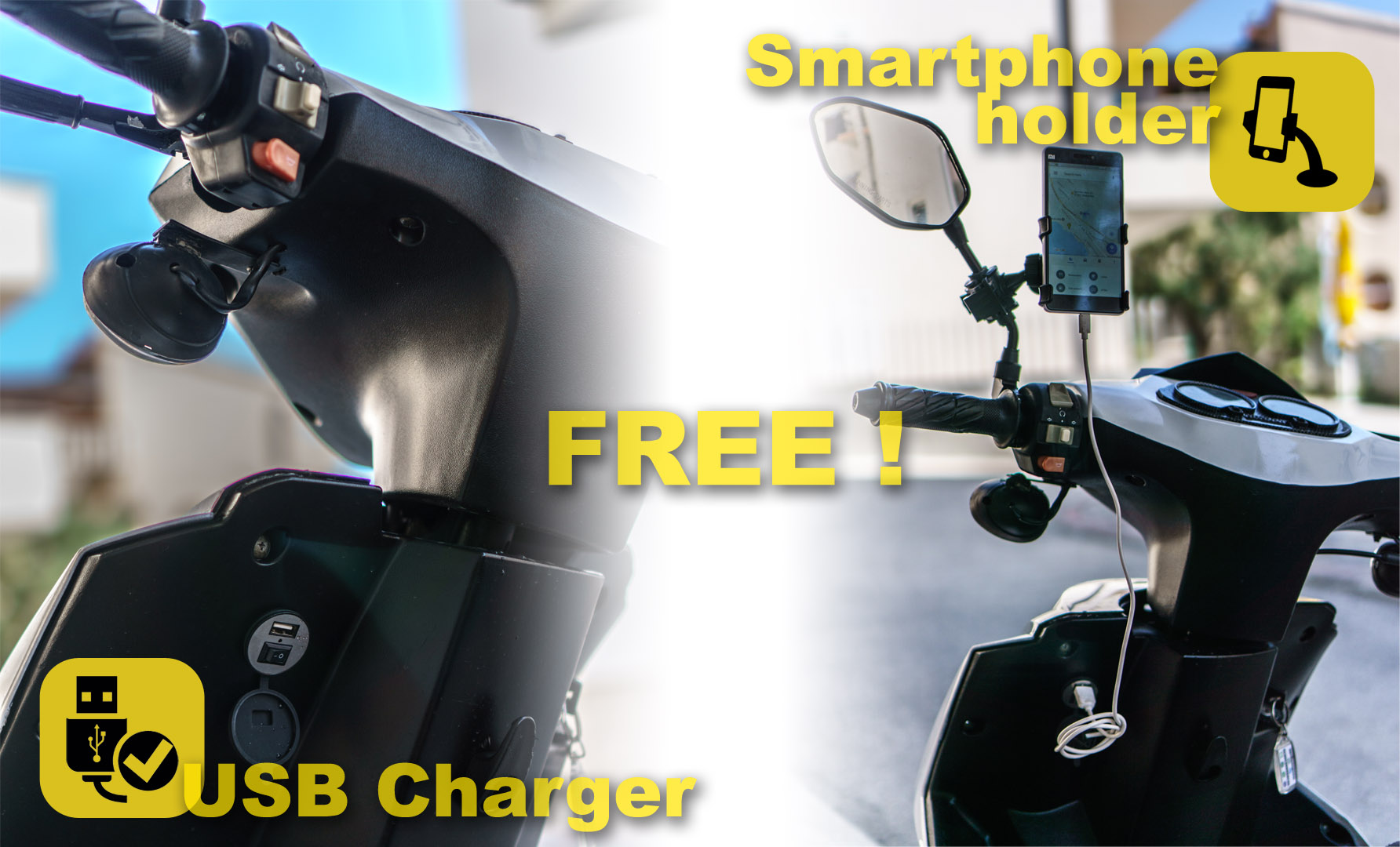 free smartphone holder and usb charger at renting a scooter makarska