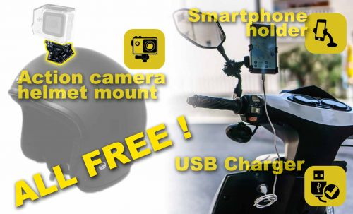 Free usb charger, smartphone holder and action camera helmet mount